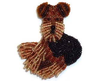 AIREDALE or WELSH TERRIER beaded dog pin pendant art jewelry (Made to Order)