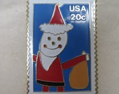 Santa Stamp Brooch Lapel Pin Gold Red White Blue Christmas US Mail