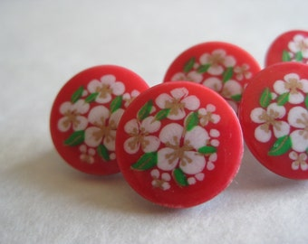 Flower Red White Buttons Vintage Five