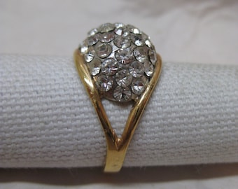 Rhinestone Cluster Ring Gold Clear Vintage Size 8