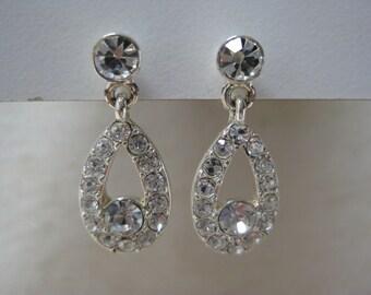 Rhinestone Silver Dangle Earrings Pierced Post Clear Vintage
