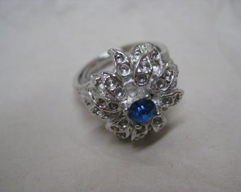 Blue Silver Ring Adjustable Rhinestone Vintage Cocktail
