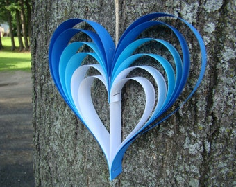 Paper Heart Garland - Blue Ombre Hearts - 5' Garland