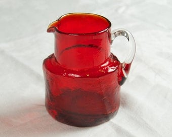 SALE WAS 20 Stunning Hand Blown Small Red Glass Pitcher