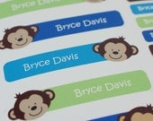 monkey personalized dishwasher safe labels, set of 36
