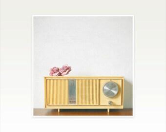 Music Art, Retro Wall Art, Romantic, Mustard Yellow, Minimal, Gift for Music Lover - Lovesick