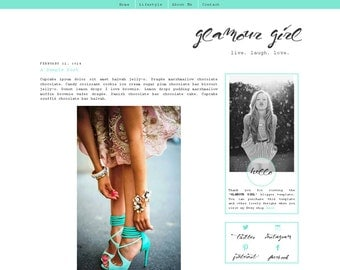 Premade Blogger Template - GLAMOUR GIRL - Responsive - Graphic Design - Blog Template