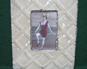 "AUTHENTIC Tin Ceiling 4""x 6"" Picture Frame RECLAIMED Photo S1831-14"