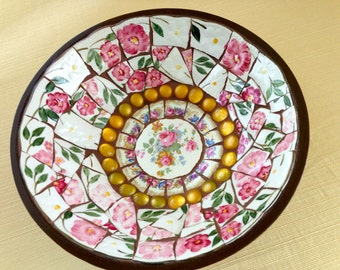 Mosaic Bowl Pink Floral China Pique Assiette