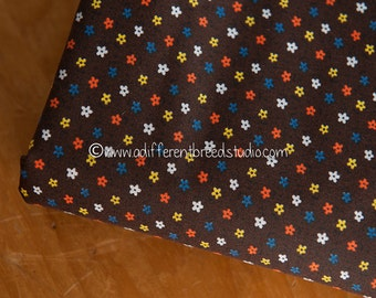 Mini Daisies on Brown- Vintage Fabric Mod Flowers Juvenile Floral Novelty Doll Clothes