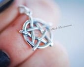 Pentagram Necklace - Solid 925 Sterling Silver Star Charm -  Insurance Included