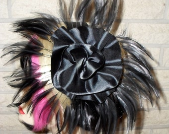 Sale was 28.00 now 20.00 Ready To Ship Black Feather Fascinator By Taissa Lada Designs,Old Hollywood,Flapper,Bridal Headpiece,Gothic,Drag