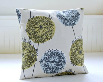 cushion cover flowers, pale blue, sage green allium decorative pillow cover 16 inch