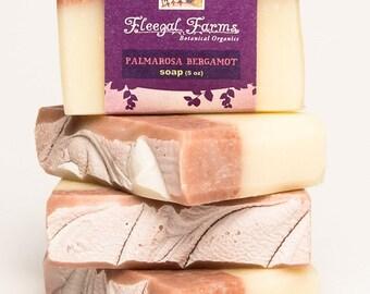 Palmarosa Bergamot Soap Bar/Natural/ Handmade/Artisan Cold Pocess. Generous 4.5 oz Herbal/ Vegan. Made with Rainwater & Pure Essential Oils.