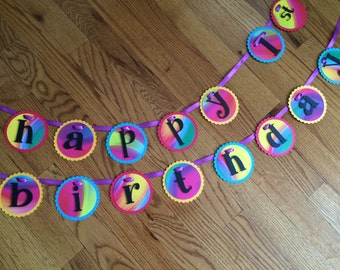 Tie Dye, Retro, Funky, Psychedelic Happy Birthday Party Banner, Birthday Banner, Party Decorations