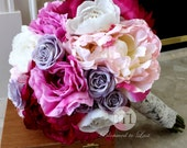 17 pc Premium Silk Summer Peony & Rose Wedding Set with a in orchid, raspberry, pink, lavender, cream