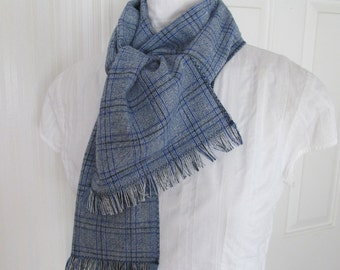 Blue Plaid Long Linen Frayed Fringe Scarf For Men or Women