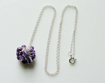 Purple Gemstone Cluster on Fine Sterling Silver Rope Chain / Amethyst / Iolite / Tanzanite / Wisteria / Lilac / Gemstones / Gem Cluster