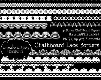 ChalkBoard Lace Borders Set  Digital Clipart Elements and Papers Commercial use for paper, invites InStAnT DoWnLoAd