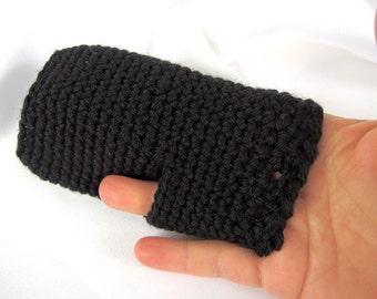 Black Mitts for Tweens, Handmade Crochet Fingerless Gloves, Wrist Warmers