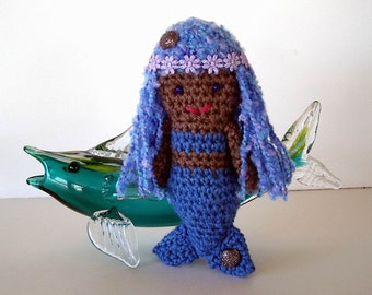 Mermaid Toy Crochet Doll  Blue Body Lavender Light Blue Hair Tan Skin Seashells Flower Headband