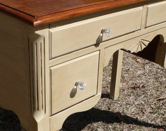 Custom )) Vintage QUEEN ANNE Curved French Provincial style desk Cream white Chestnut