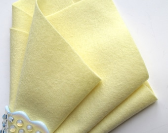 Light Yellow Felt, 100% Merino Wool, Choose Size, Felt Sheet, Pastel Felt, DIY Baby, Waldorf Handwork, Wool Applique, Soft Felt