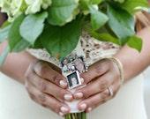 Rhinestone Rectangle Photo Frame Bouquet Charm