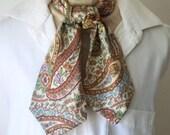 Retro Fashion, Mans Ascot, Cravat, Paisley Pattern, Short Day Cravat, Necktie, All Cotton
