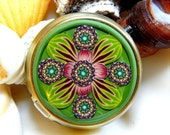 The Mirror and the Tin Collection Flower of Eyes Mint Tin Kaleidoscope Millefiori in Polymer Clay
