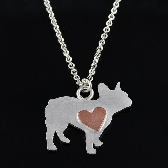 French Bulldog Sterling Silhouette Pendant with Tiny Copper Heart