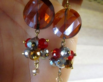 Sunset Celestial Crystal earrings.  Gold and glass, bold and bronze.  Beautiful.