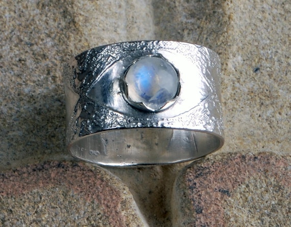 Etched moonstone sterling silver engagement ring celtic