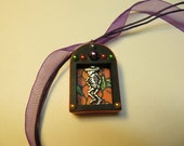 Handmade day of the dead shrine charm necklace