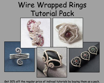 Wire Wrapped Rings Tutorial Pack - Wire Jewelry Tutorials - Save 30%