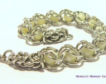 Captive Mother of Pearl Chainmail Bracelet