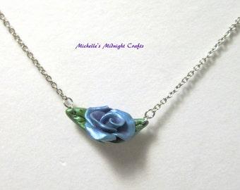 Blue-Purple Polymer Clay Rose Pendant
