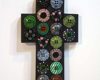 Black Wall Cross, Black Painted Button Cross, recycled art, religious folk art cross