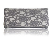 Grey and silver lace ASTRID clutch purse, bridesmaids, mother of the bride