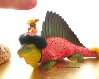 Dimetrodon Dinosaur party animal in pink polka dots