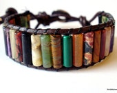 Leather beaded wrap bracelet or cuff - Rainbow mixed gemstone with button clasp