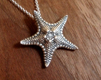 Starfish Necklace sterling silver Oxidized Starfish Pendant Gift for her Starfish Jewelry Real Knobby Starfish holiday jewelry boho jewelry