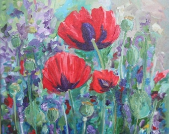12x12 Poppy painting acrylic in canvas painting