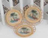 Palm Tree Bamboo Coasters Island Tropical Coconut Palms Drink Cocktail Coaster Set of Three Vintage