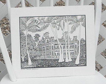 Iolani Palace Honolulu Pen and Ink Print by Trace Purcell Vintage Hawaii Oahu