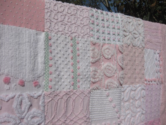 Pink Quilt From Vintage Chenille Patchwork By