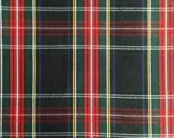 3 Yards Black Stewart Tartan Plaid Fabric UPHOLSTERY Home Decorating CRAFTS