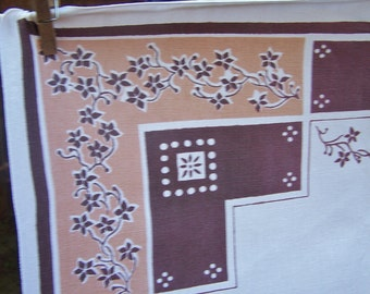 """Vintage 1960's Cotton Tablecloth, Excellent Condition, 40"""" Square, Brown, Tan, Geometric, FREE SHIPPING"""