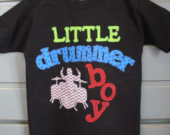 Christmas Shirts for Boys, Holiday Cards Outfit, Santa Visit Shirt, Boys Clothes, Little Drummer Boy Shirt, Rock and Roll Clothing