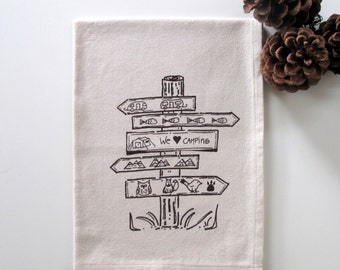 Cotton Kitchen Towel  -  We Love Camping - Choose your ink color